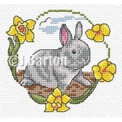 Grey rabbit cross stitch chart