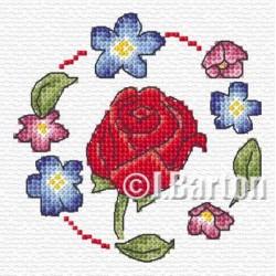 Red rose cross stitch chart
