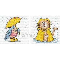 Bluebird and cat in the rain cross stitch chart
