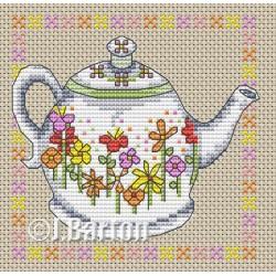 Floral teapot cross stitch chart