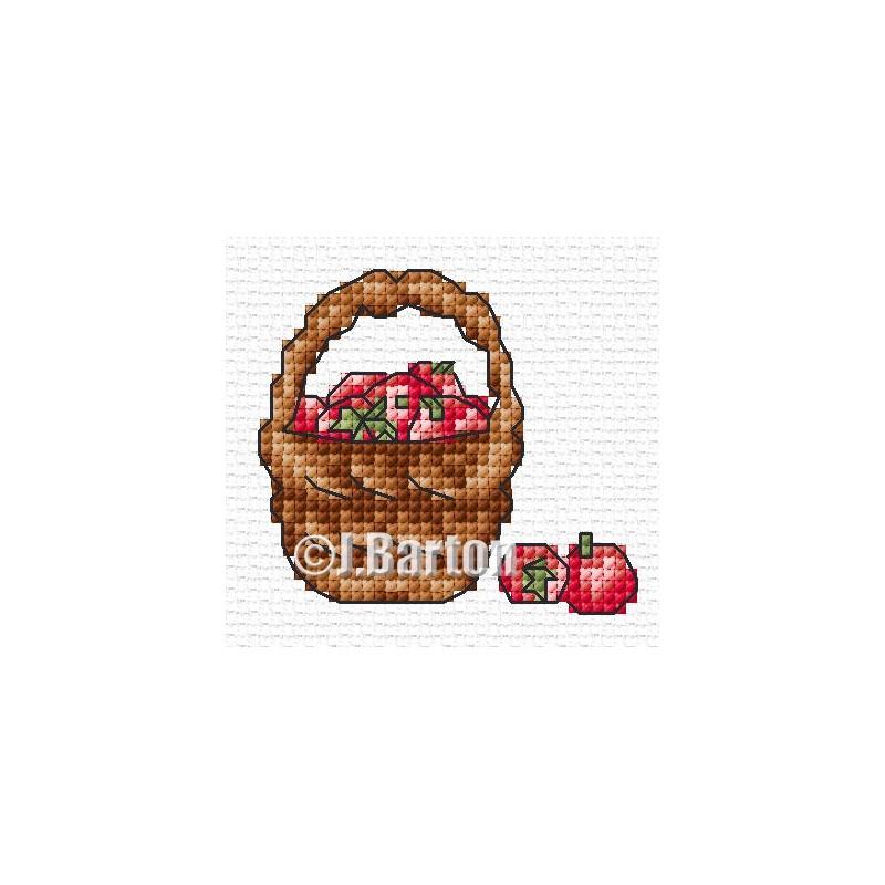 Basket of apples cross stitch chart