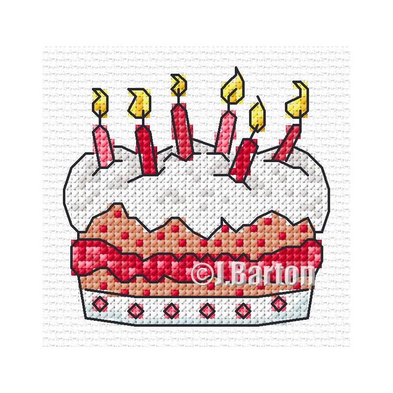 Birthday cake cross stitch chart