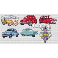 Classic vehicles cross stitch chart