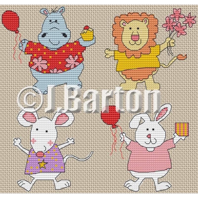 Happy animals cross stitch chart